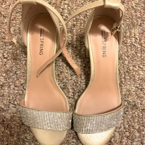 998aeaa6e6d1 Gold with diamond rhinestone heel sandals